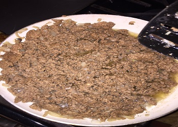 finished ground beef cooked with onions