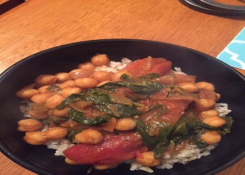 curried chickpeas and brown rice