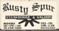 Rusty Spur Steakhouse and Saloon restaurant located in VERNON, TX