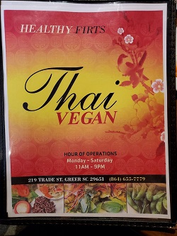 Thai Vegan restaurant located in GREER, SC